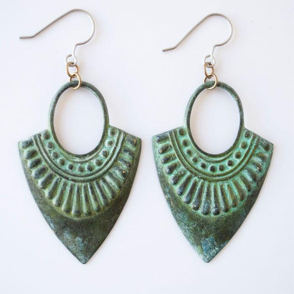 Patina Ornate Triangle Dangle Earrings