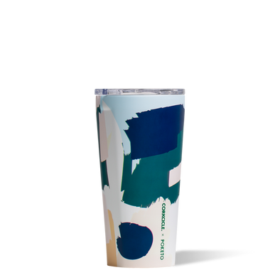16 oz White Brush Stroke Tumbler