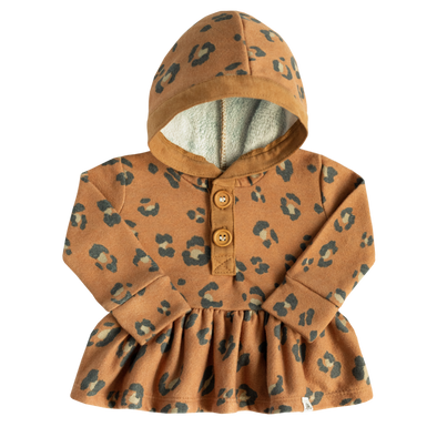 Rust and Cheetah Peplum Hoodie