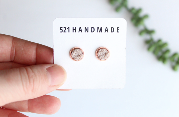 Taupe Druzy Studs in Silver Setting - 8mm