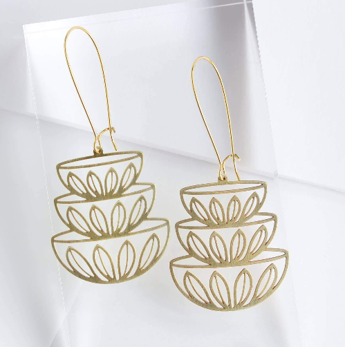 Retro Stacked Bowls Earrings - Brass