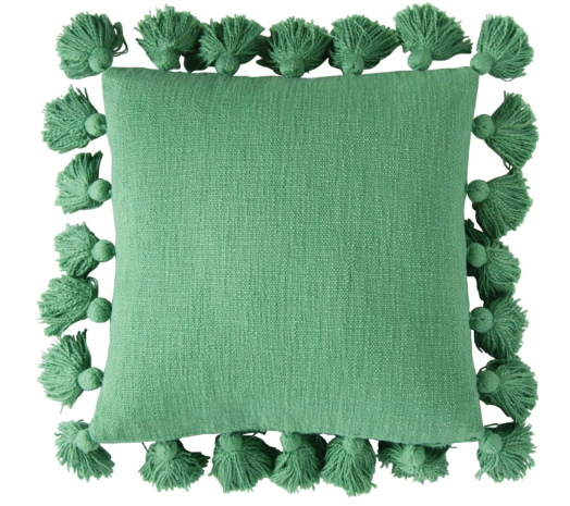 Square Cotton Pillow w/ Tassels, Green