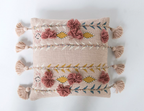 Square Cotton Embroidered Pillow w/ Tassels & Applique