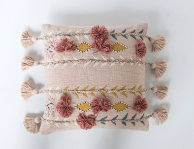 Square Cotton Embroidered Pillow w/ Tassels & Applique, Pink