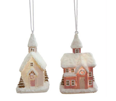 Resin House Ornament w LED