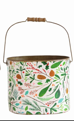 Metal Bucket w/Wooden Handles