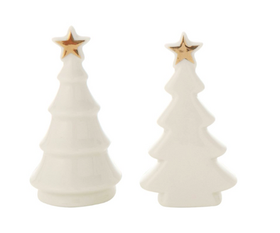 Ceramic Tree, White w/ Gold Electroplated Star