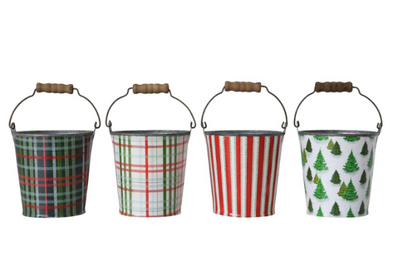 Metal Bucket w/ Pattern & Wood Handle, 4 Styles