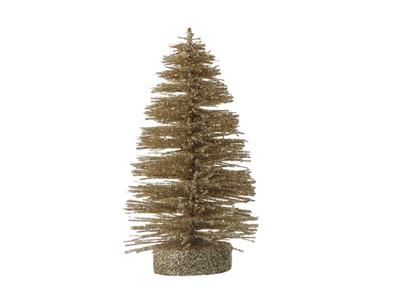 Bottle Brush Tree w/ Gold Glitter Finish