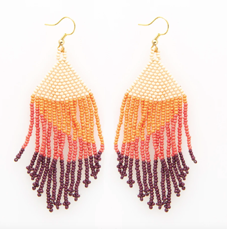 Pink Ombre Fringe Earrings
