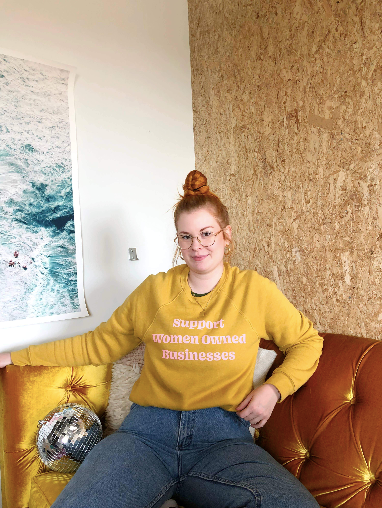 Support Women Owned Businesses Yellow Sweatshirt