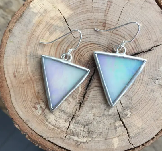 White Iridescent Triangle Earrings