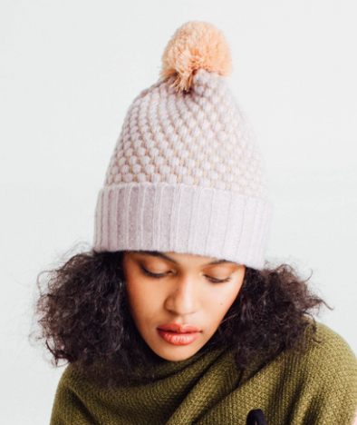 Quilted Bobble Pom Pom Hat