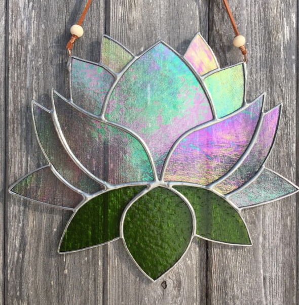 Giant Lotus Flower Stained Glass Sun Catcher