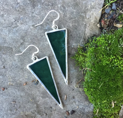 Long Triangle Stained Glass Earrings