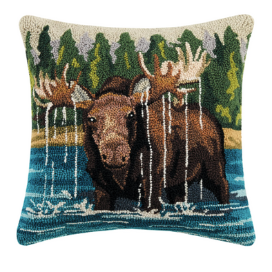Moose in the Lake Hook Pillow