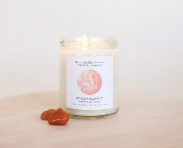Peach Quartz Crystal Candle