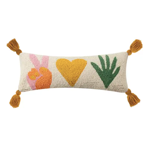 Peace Love Plants With Tassles Hook Pillow