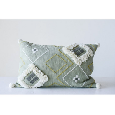Cotton Woven Embroidered Pillow w/ Fringe & Pom Poms, Sage Color
