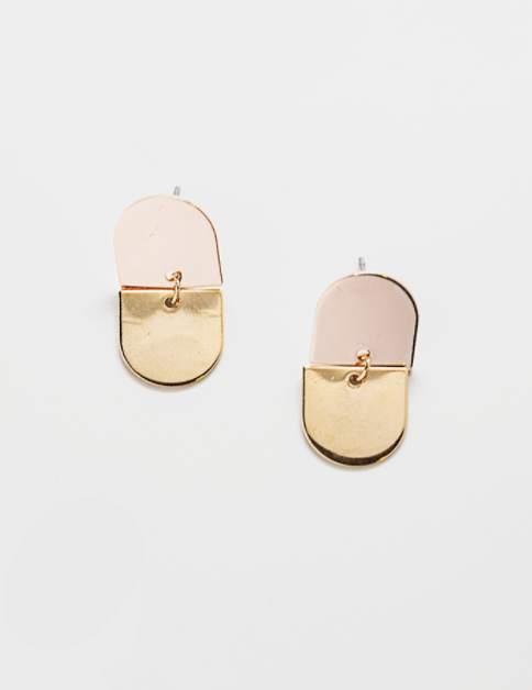 Two Tone Semi Circle earrings