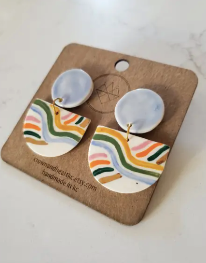 Rainbow Stripe Mid Century Statement Earrings