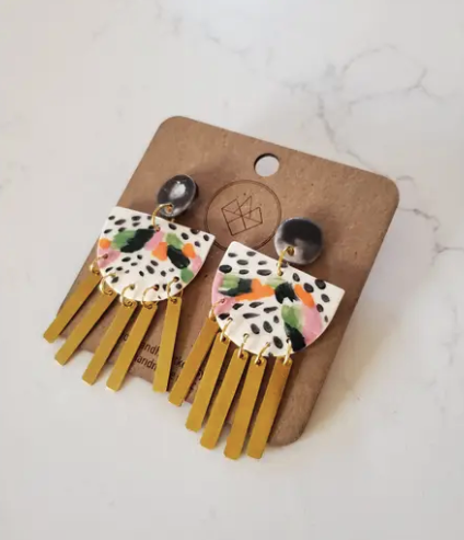Color Block and Dash Brass Tassel Earrings