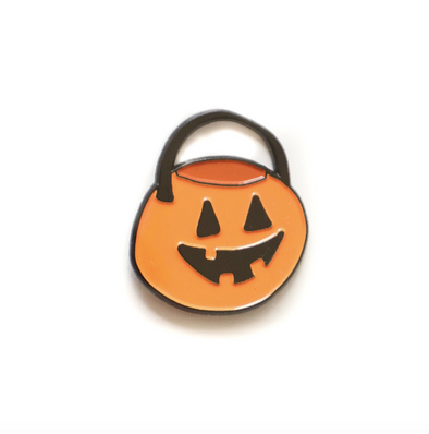 Retro Pumpkin Bucket Enamel Pin
