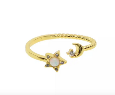 Opal Star & Moon Ring