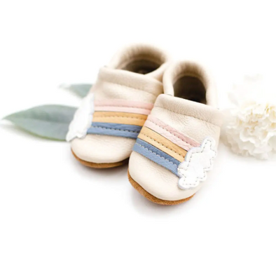 Rainbow on Cream Baby Shoes