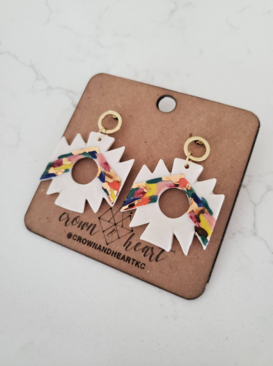 Geometric Color Dash Statement Earrings