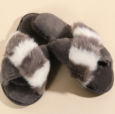 Color Block Furry Slippers - Gray