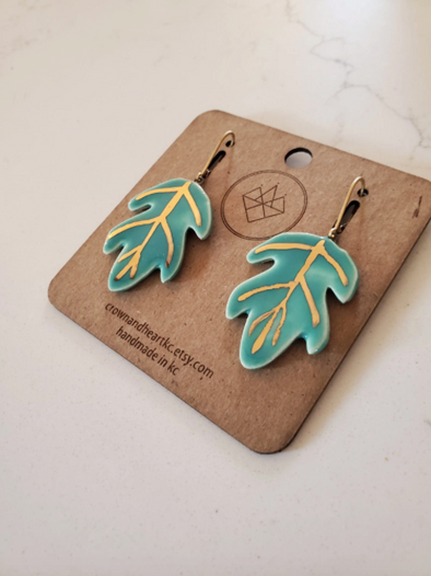 Palm Leaf Porcelain Earrings