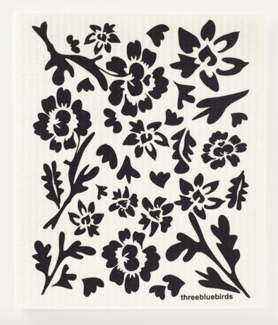 Black Flora on White Swedish Dishcloth