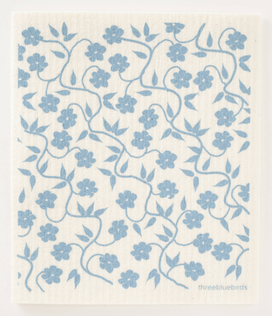 Blue Vines Swedish Dishcloth