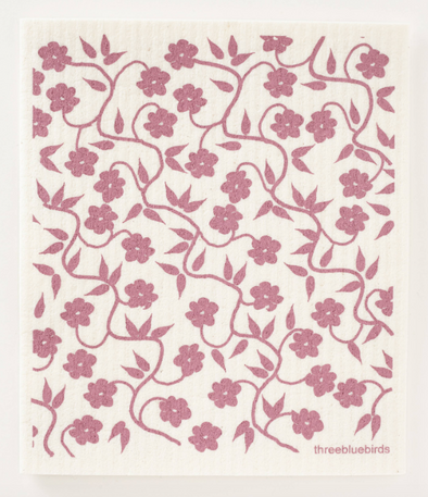 Plum Vines Swedish Dishcloth