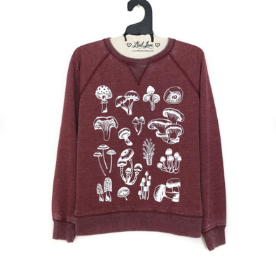 Unisex Red Speckle Sweatshirt with Mushrooms