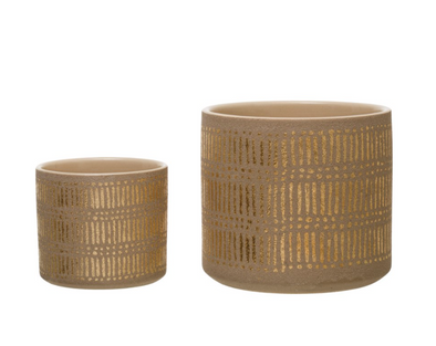 Stoneware Planter with Gold Design