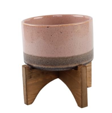 Lava Pink Ceramic Planter On Wood Stand