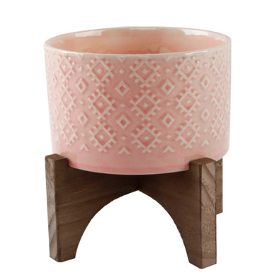 "Pink 5"" Ceramic Planter On Wood Stand"