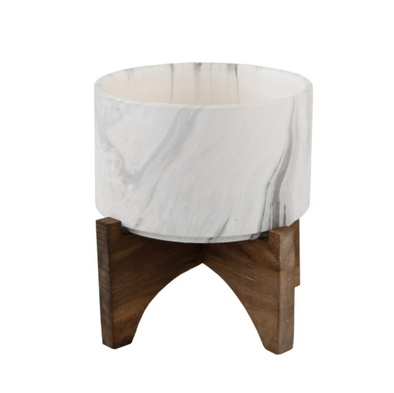 "5"" Marble finish Ceramic on Wood Stand"