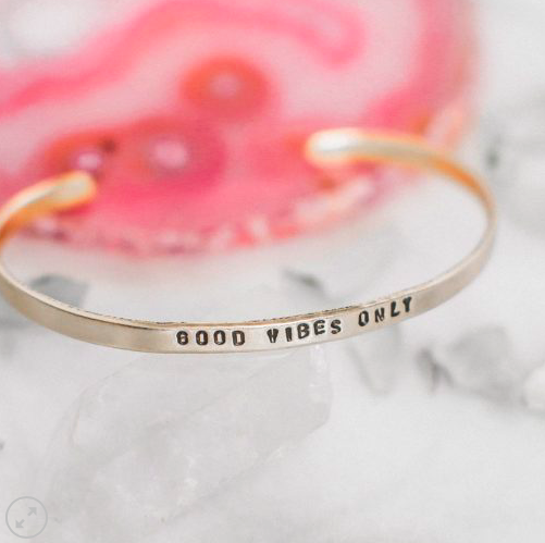 Good Vibes Only Brass Cuff Bracelet