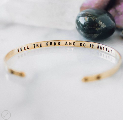 Feel the Fear and Do it Anyway // Skinny Brass Cuff Bracelet