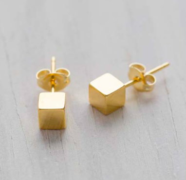 Gold Cube Post Earrings Small
