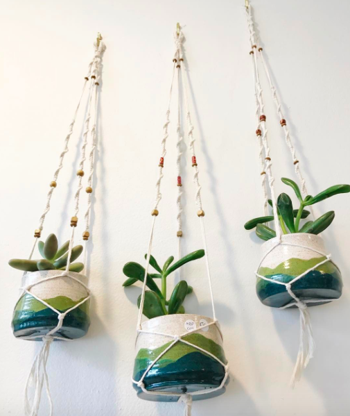 Medium Stoneware Green Mountain Macrame Planter