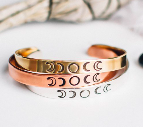 Brass Moon Phases Cuff Bracelet