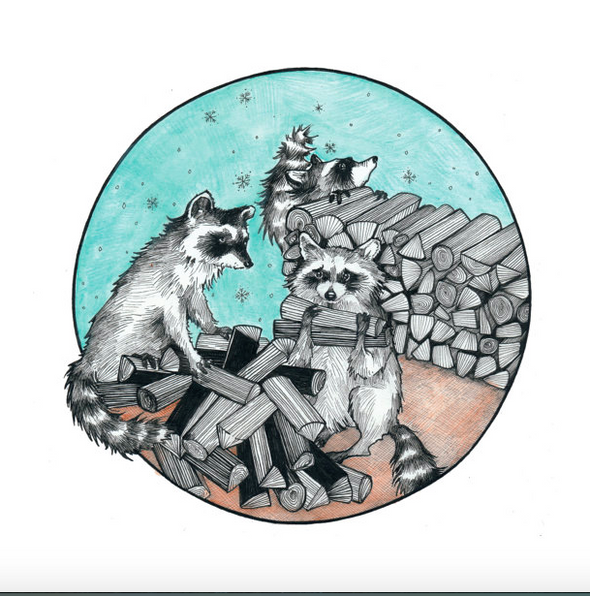Stack Pack Raccoons 8x10 Print // by Hilary Ann Love Glass