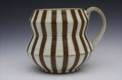 Angle Mug - White & Brown Stripes