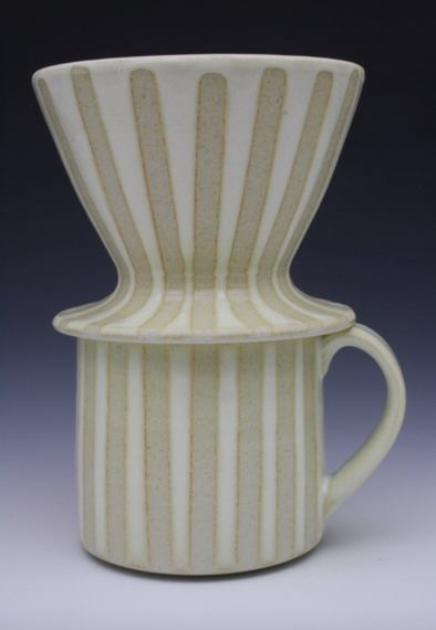 Coffee Mug & Pour Over Set - White & White Stripes