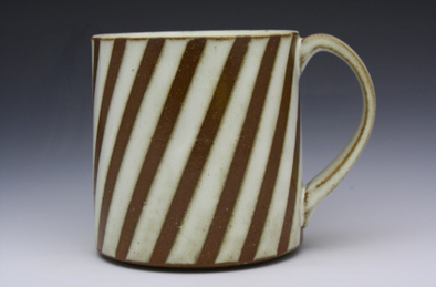 Stripe Patterned Mug - Diagonal White & Brown