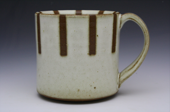 Stripe Patterned Mug - Half Stripe White & Brown